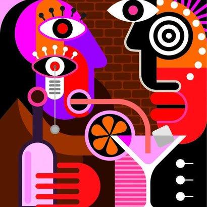 muž žena bar ilustrace