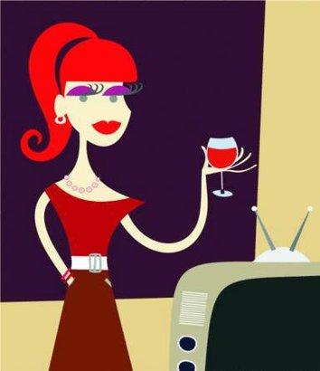 žena víno televize