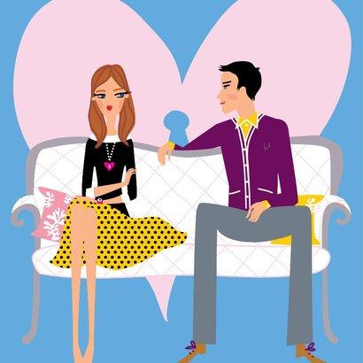 grafika, žena, muž, partnerství, láska